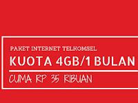 Paket Internet Midnite Telkomsel 4GB cuma 35 ribu Selama 1 Bulan