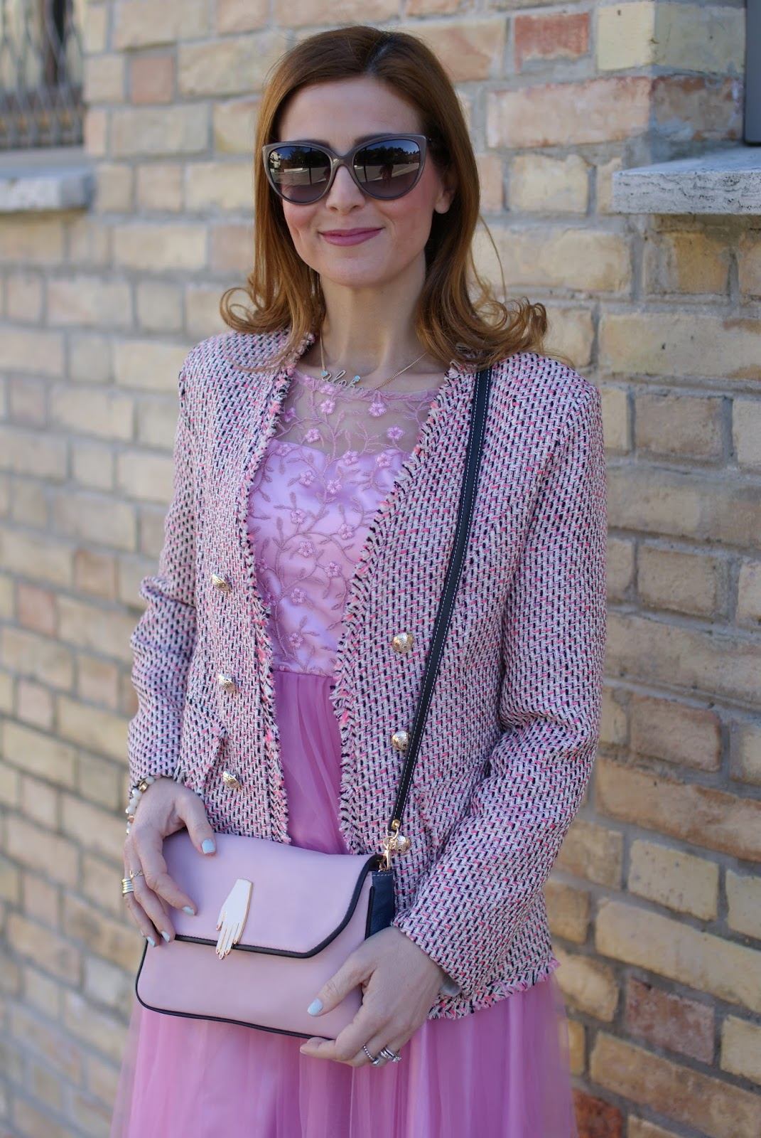 Chanel inspired tweed jacket, Zaful Pink midi tulle dress for a romantic outfit on Fashion and Cookies fashion blog, fashion blogger style