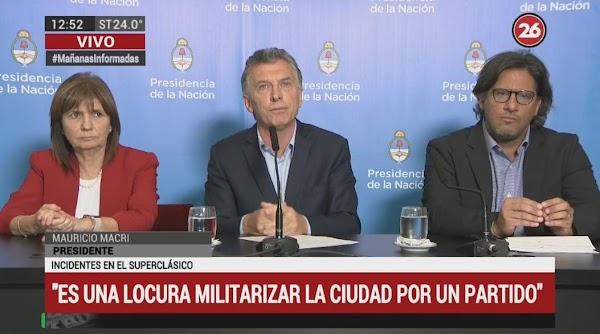 Macri, sobre incidentes en Superfinal: ''Es inaceptable, tenemos fallas en el sistema''