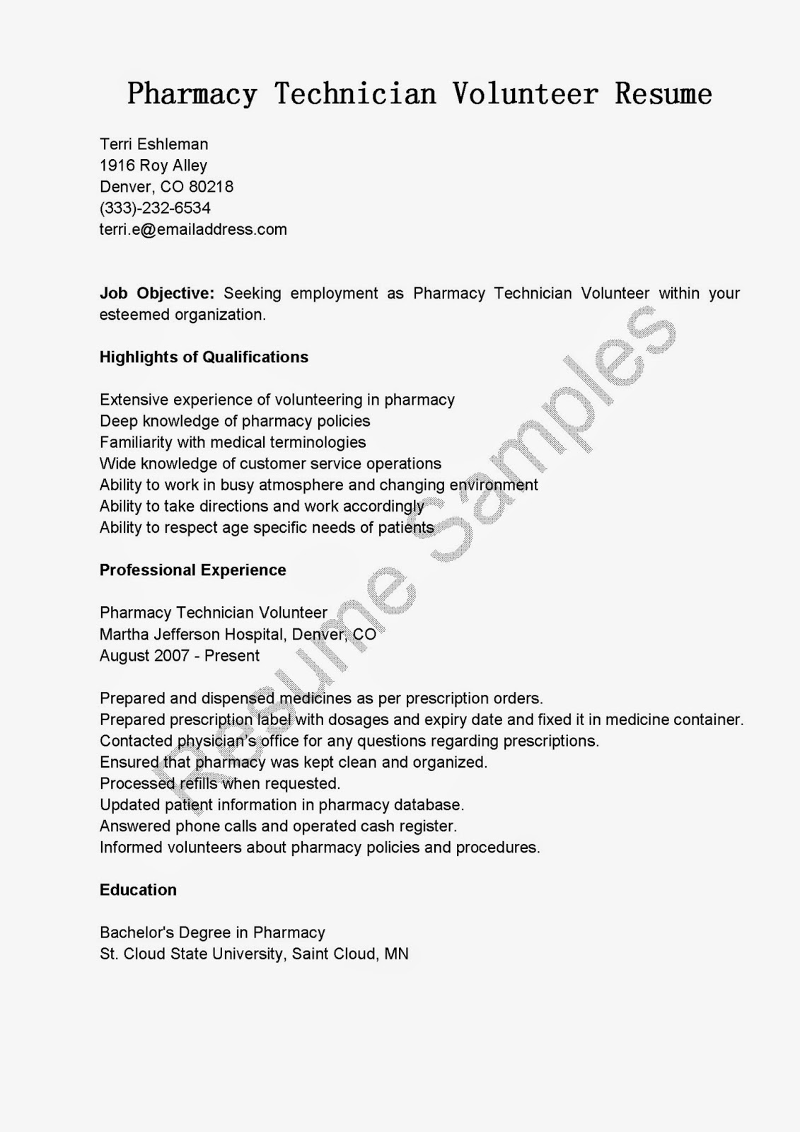 Resume Samples Pharmacy Technician Volunteer Sample