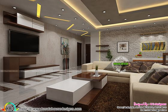 Modern living room interior in Kerala, India