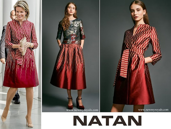 Queen Mathilde wore Natan Dress from Collection Fall Winter 2017-2018