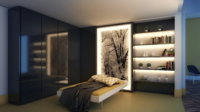 indirect lighting for bedroom with a decorative shelf