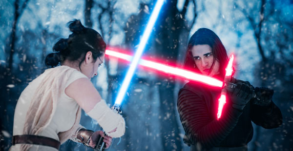 Rey defends against Kylo ren attack - cosplay fight