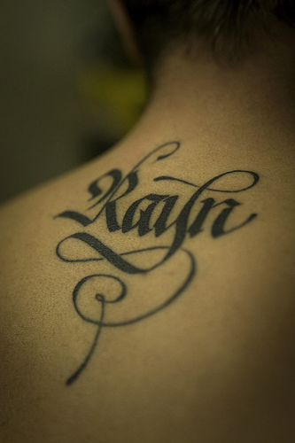 tribal letter tattoos