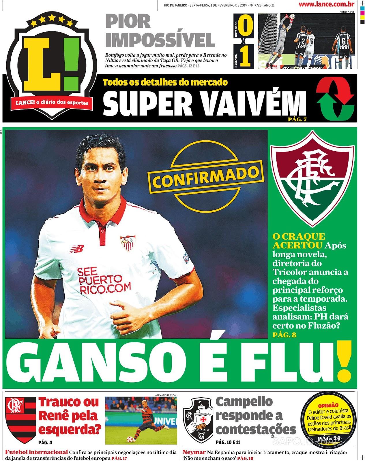 Espresso ⚽Fluminense contrata meia Paulo Henrique Ganso - O mês de  fevereiro vai mostrar o tamanho da convicção do São Paulo em André Jardine 05342097cd4e3