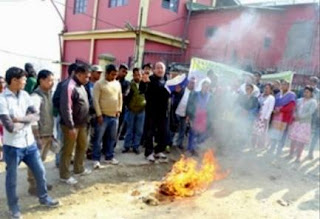 CPM kalimpong led by Tara Sundas burns low quality ration in front of Food and Supplies office