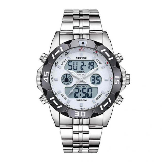 $12.99 / €11.15 Shipped for STRYVES8011 Men Waterproof Dual Display Digital Sports Watch with Stainless SteelBand