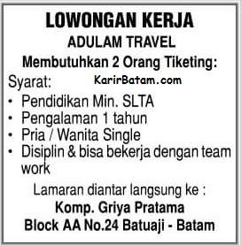 Lowongan Kerja PT. Adulam Travel Batam