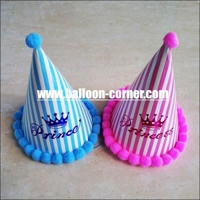 Topi Ulang Tahun Pom Pom PRINCE & PRINCESS