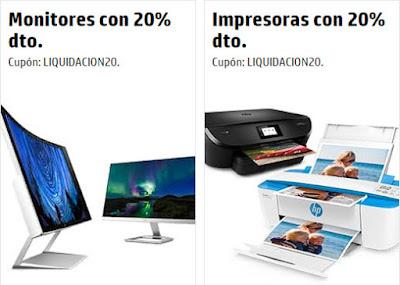 20% descuento monitores y impresoras HP Store