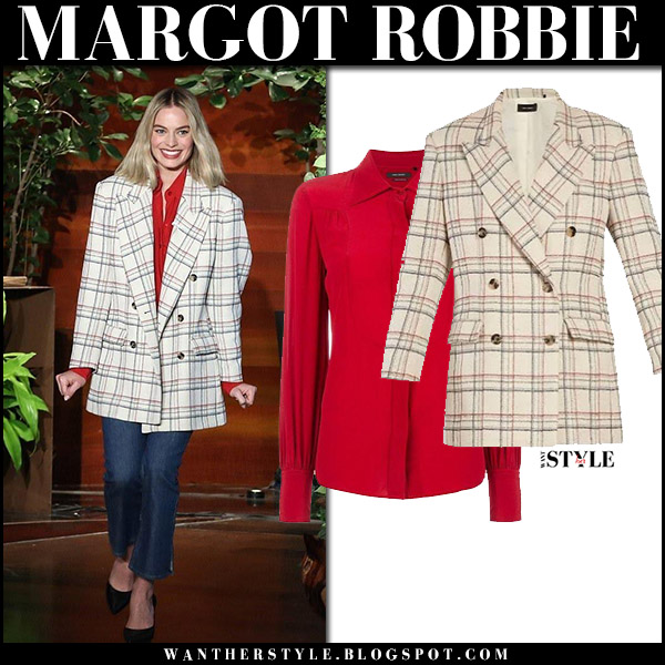 Margot Robbie in cream checked oversized jacket isabel marant telis, red shirt isabel marant salina and jeans fashion outfit january 10
