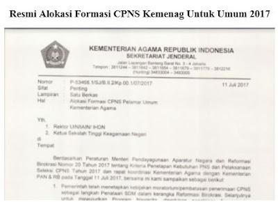 Alokasi Formasi CPNS Kemenag Untuk Umum 2017