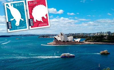 Photo of Sydney Opera House with 2016 postal stamps