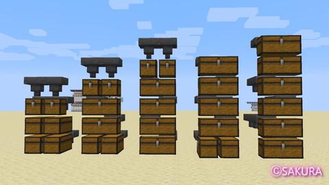 Minecraft 多段式倉庫 チェストのレイアウト