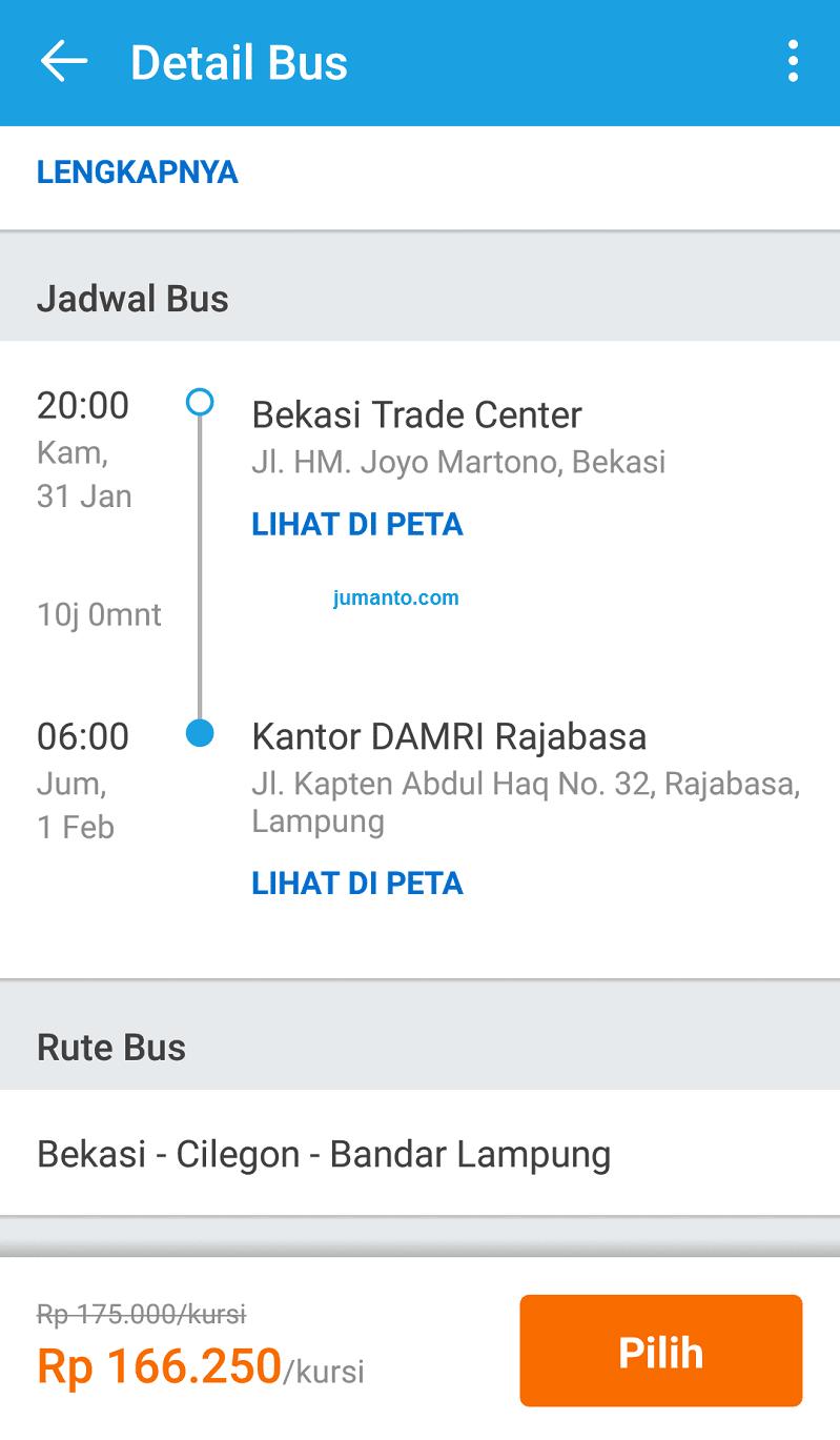 cara pesan tiket bus damri bekasi lampung online via traveloka