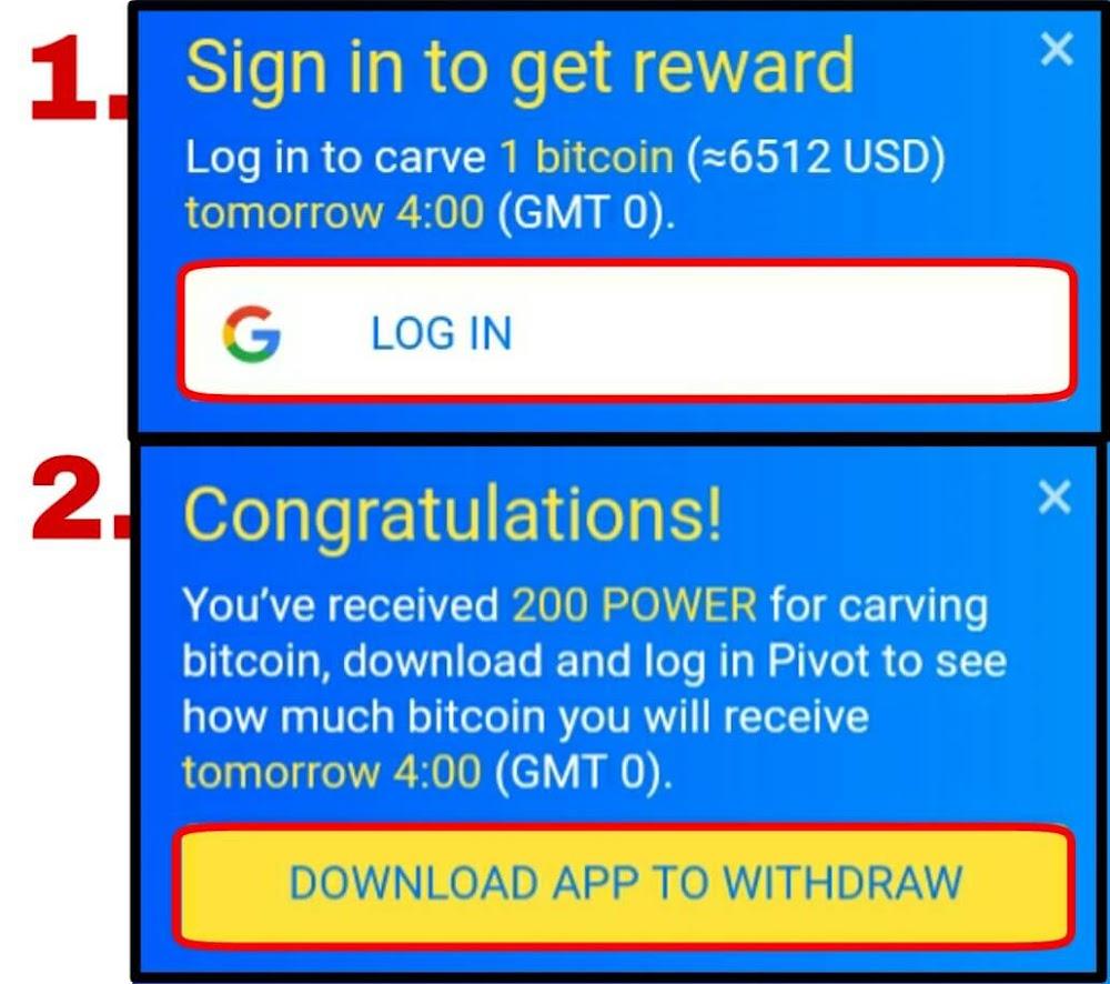 """silahkan menuju situs resmi Pivot lalu pilih """"Login"""" kemudian ikuti langkah selanjutnya kemudian pilih """"Download App to Withdraw"""" lalu download apknya di Playstore dan buka apknya."""