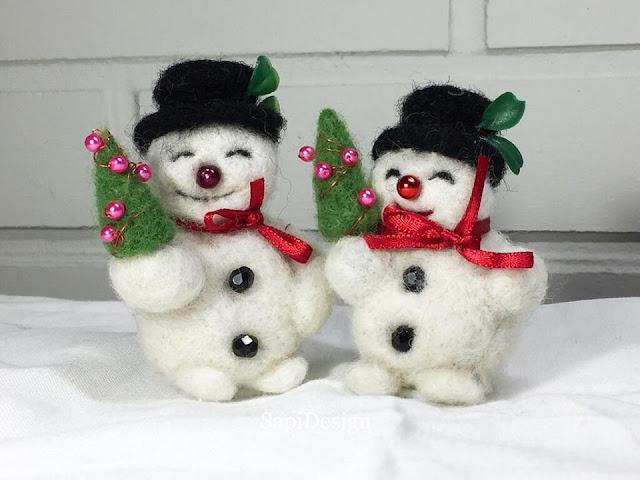 neulahuovutettu lumiukko needlefelted snowman