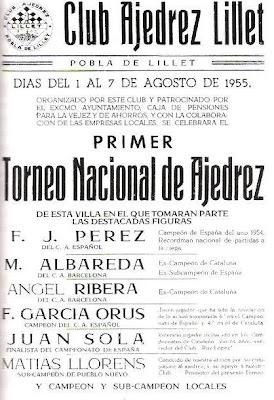 Cartel del I Torneo Nacional de Ajedrez de La Pobla de Lillet 1955