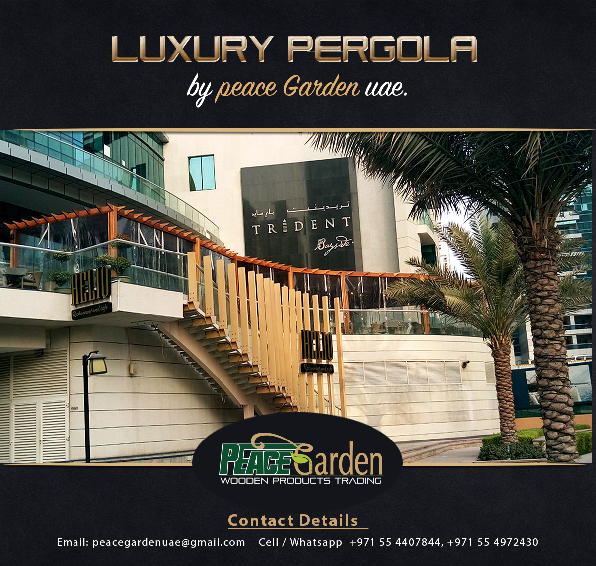 Wooden pergola contractor for Luxury balcony design
