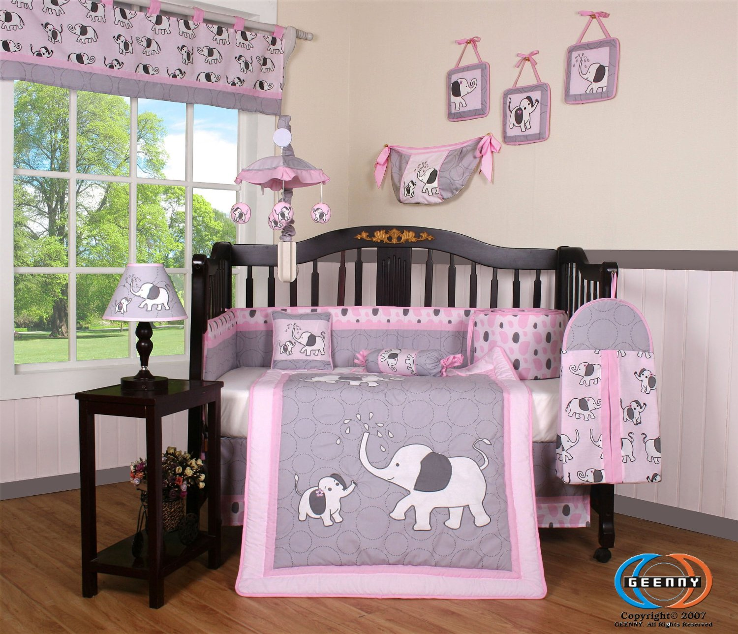 Pink and Grey Crib Bedding Sets for Baby Girls' Nursery