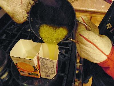 Pouring lemon soap