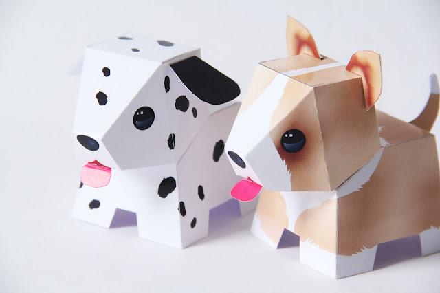 baby kadootjes, babykamer accessoire, Gemaakt/ DIY, paper toy, papieren puppy's, Studio Mojo,
