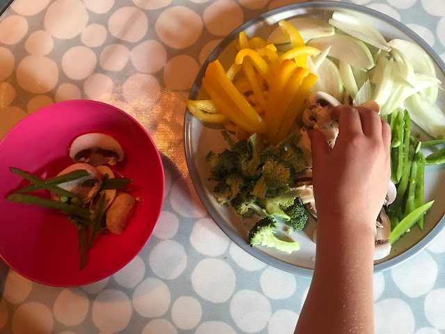 Letting children choose what is going in their beef stir fry is a great way to get them involved