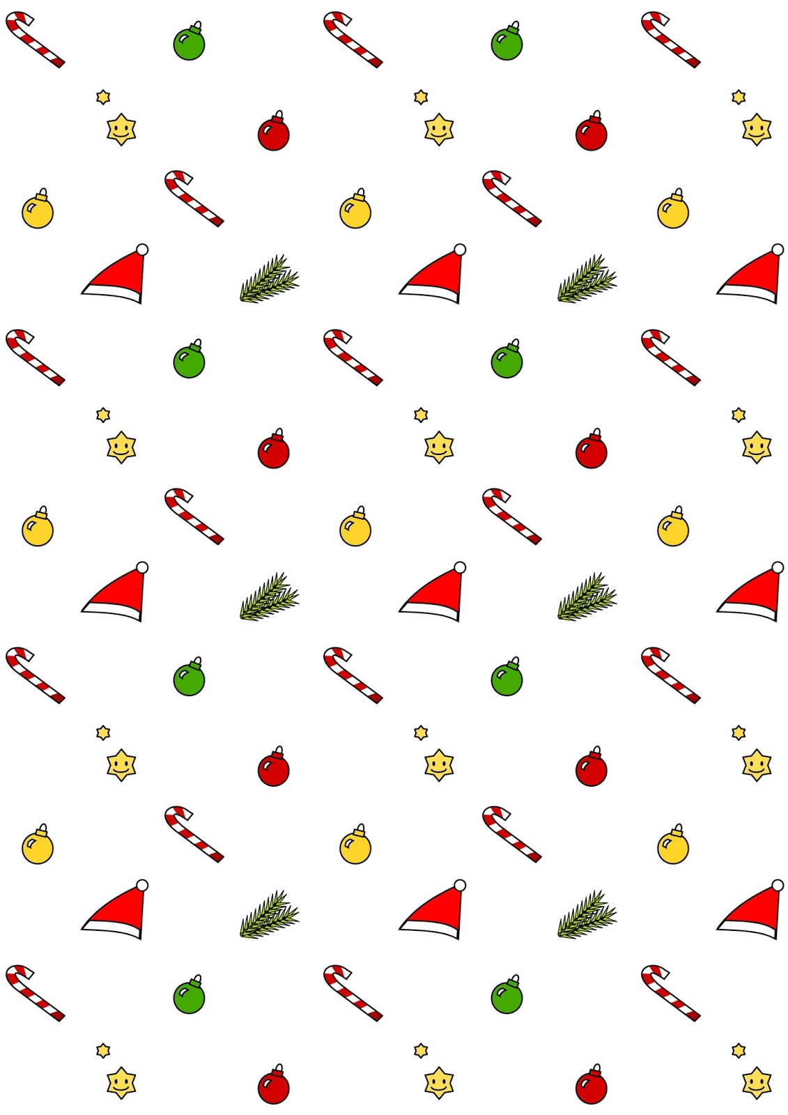 Free Digital Kawaii Christmas Scrapbooking Paper
