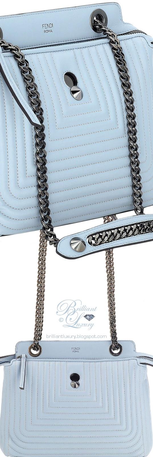 Brilliant Luxury ♦ Fendi Dotcom Click blue leather shoulder bag