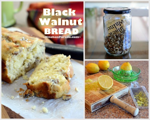 Black Walnut Bread ♥ KitchenParade.com, a lemon quick bread, bright with citrus and smoky with black walnuts. Or dried apricots. Or golden raisins. Or dried cranberries. Or ...