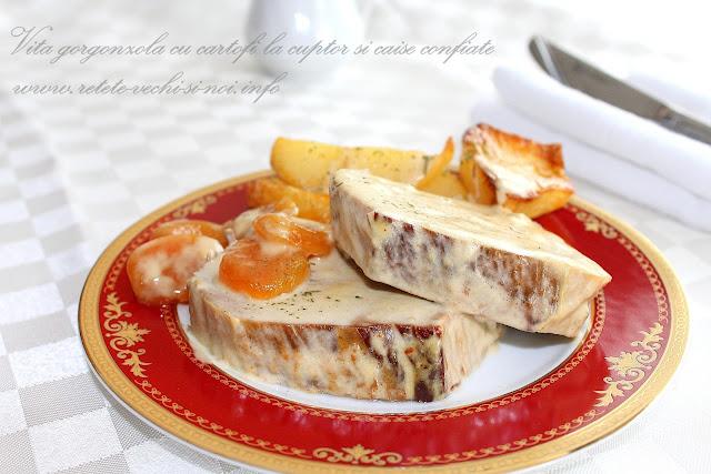 Vita gorgonzola cu cartofi si caise confiate