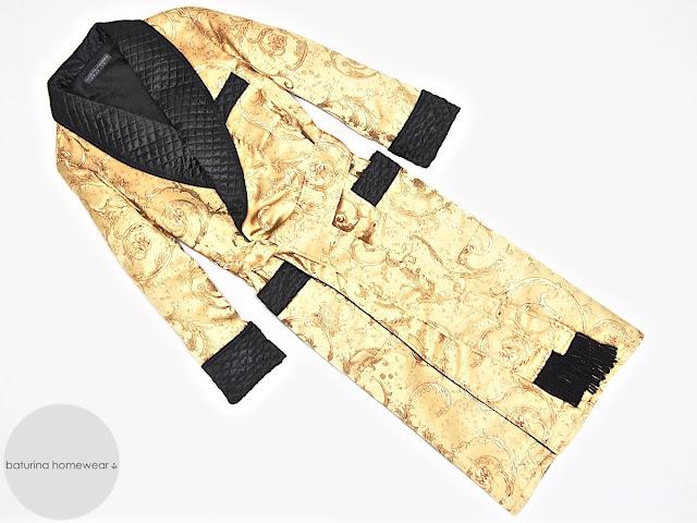 Hausmantel Herren Seide Paisley Gold Schwarz Morgenmantel gesteppt lang warm gefüttert Morgenrock Dressing Gown