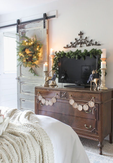 Bedroom in romantic Farmhouse Christmas holiday decorating shabby chic