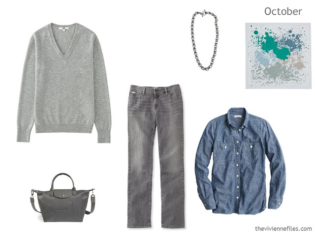 3-piece outfit in denim and soft grey, for a Summer