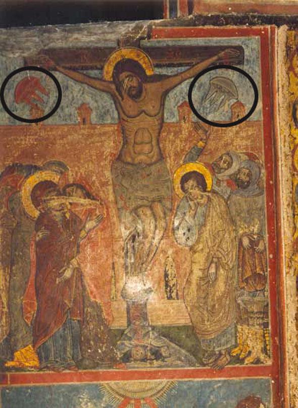 Cristo crucificado pintura del siglo XI