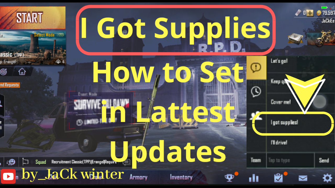 How to activate I got supplies on pubg mobile quick chat