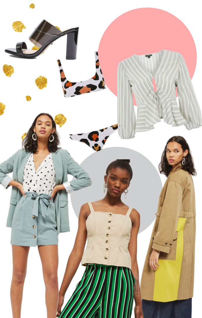 Top picks from Topshop's new arrival section, including blouses, shoes, coats and bikinis.