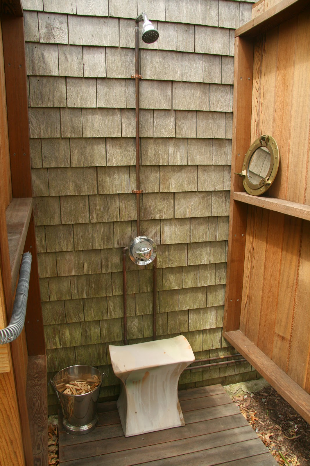 An Old Farm Outdoor Shower Seat