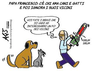 papa francesco, vicini, cani, gatti, animali domestici, affettività, satira, vignetta