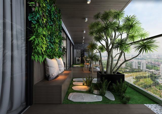 Không gian sống nghỉ dưỡng sân vườn trên cao
