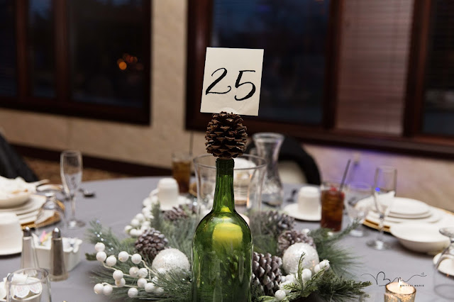 table display for winter wedding at Italian American Cultural Center in Clinton Township