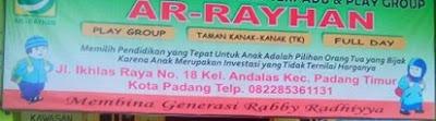 LOKER Tenaga Pendidik TK ISLAM TERPADU AR-RAYHAN PADANG FEBRUARI 2019