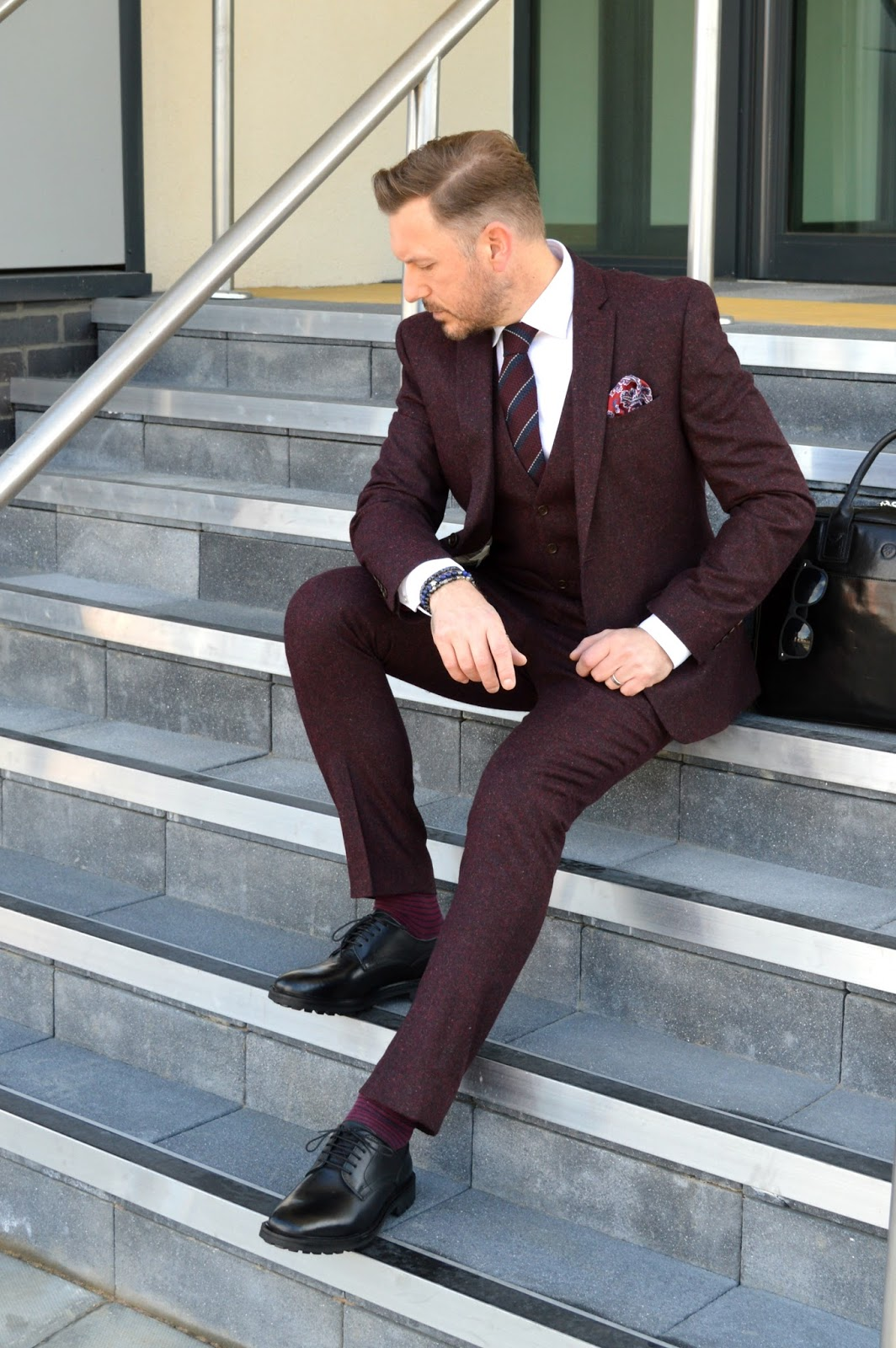 What I Wore Today - The Burgundy Nep Suit From Next - That Dapper Chap