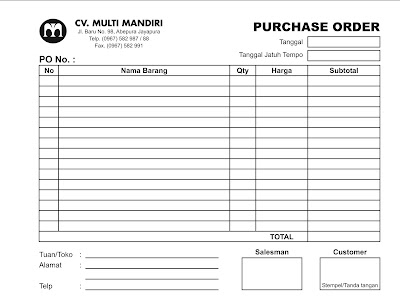 Cetak Form Purchase Order
