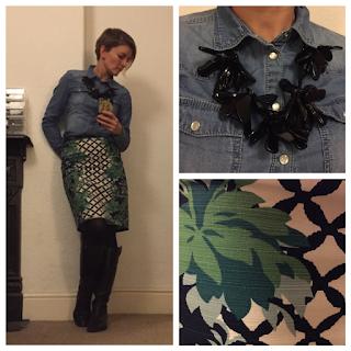 Denim Shirt and Trellis Print Skirt