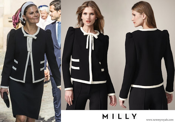 Crown Princess Victoria wore Milly Marzia Bow-Neck Jacket