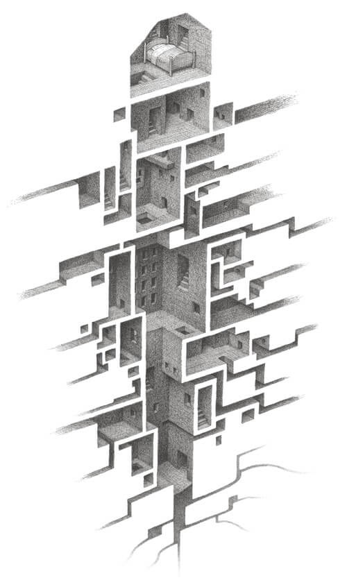 01-Hiding-Places-Matt-Borrett-Hiding-in-a-Safe-Architectural-Labyrinth-Drawing-www-designstack-co