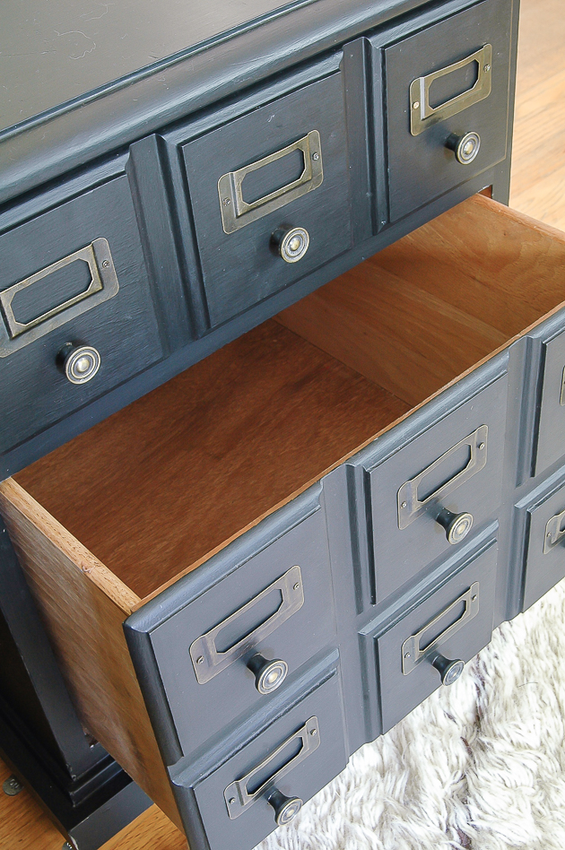 Vintage inspired card catalog side table Makeover