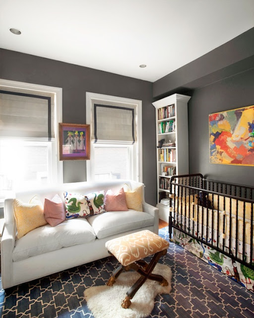 grey nursery walls colorful accents yellow pink orange